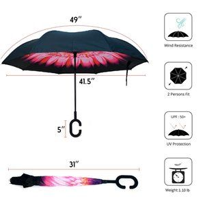 Pink Double Flower Inverted Umbrella